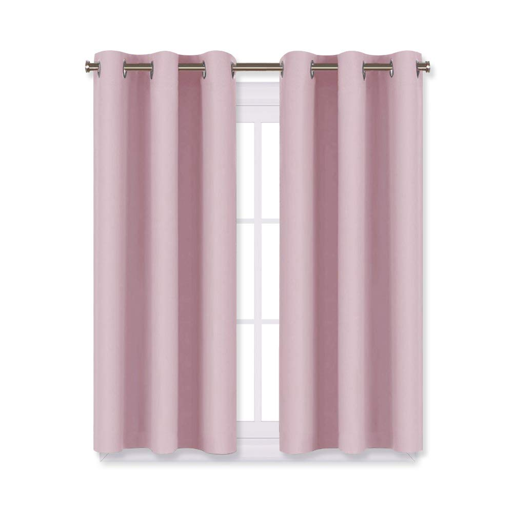 NICETOWN Blackout Curtain Panels for Girls Room, Nursery Essential Thermal Insulated Solid Grommet Top Blackout Drapes (Baby Pink=Lavender Pink, 1 Pair,29 x 45 Inch)