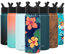 Load image into Gallery viewer, Simple Modern 18oz Summit Water Bottles with Straw Lid - Vacuum Insulated Tumbler Double Wall Travel Mug 18/8 Stainless Steel Flask - Pattern: Rad Maui