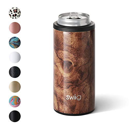 Swig Life 12oz Triple Insulated Skinny Can Cooler, Dishwasher Safe, Double Walled, Stainless Steel Slim Can Coozie for Tall Skinny Cans in our Black Walnut Pattern (Multiple Patterns Available)