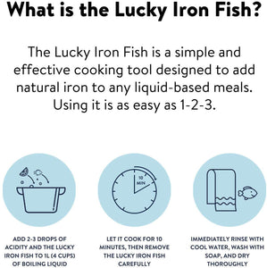 Lucky Iron Fish Ⓡ A Natural Source of Iron - A Cooking Tool to Add Iron to Food and Water, Reduce The Risk of Iron Deficiency - An Iron Supplement Alternative, Ideal for Pregnant Women and Vegans