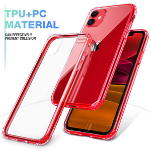 Mkeke Compatible with iPhone 11 Case, Clear iPhone 11 Cases Cover for iPhone 11 6.1 Inch-Red