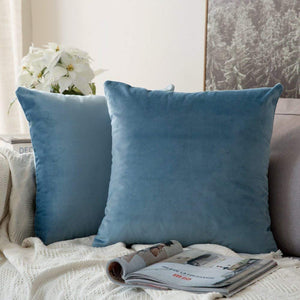 MIULEE Pack of 2 Velvet Pillow Covers Decorative Square Pillowcase Soft Solid Cushion Case for Sofa Bedroom Car 26 x 26 Inch Light Blue