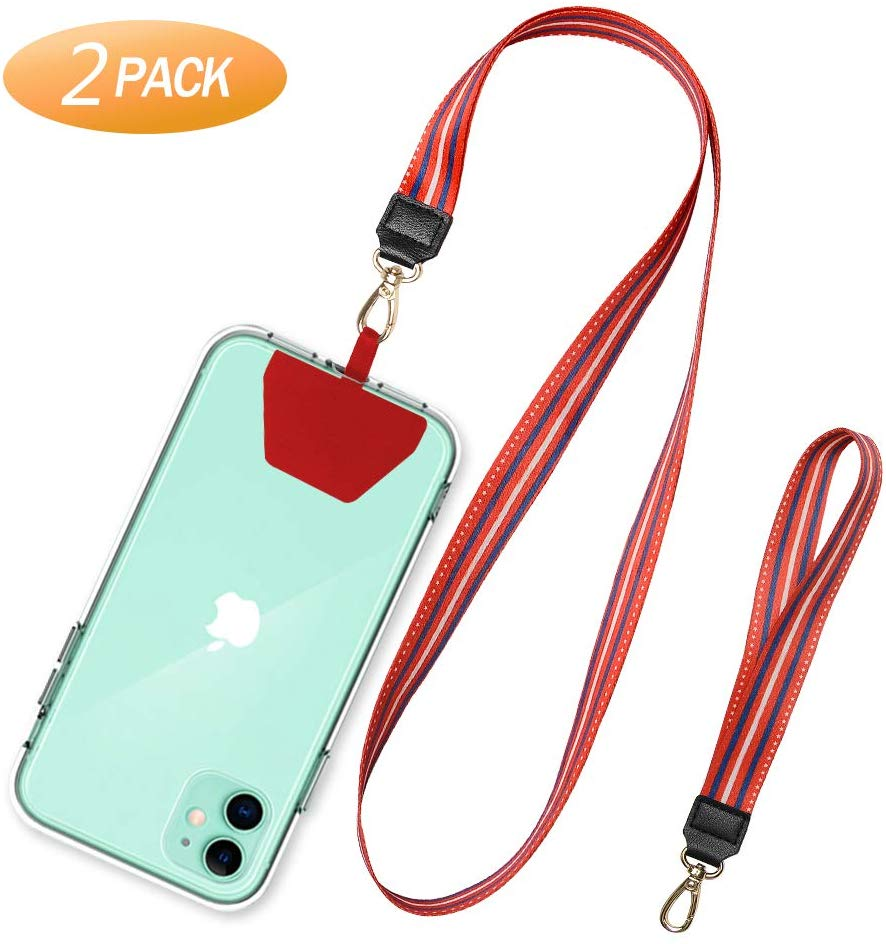 SHANSHUI Phone Leash, 2 Pack Universal Cell Phone Neck Lanyard and Wrist Strap Tether Lasso Patch Compatible with Protection iPhone, Samsung Galacy and All Smartphones -Red