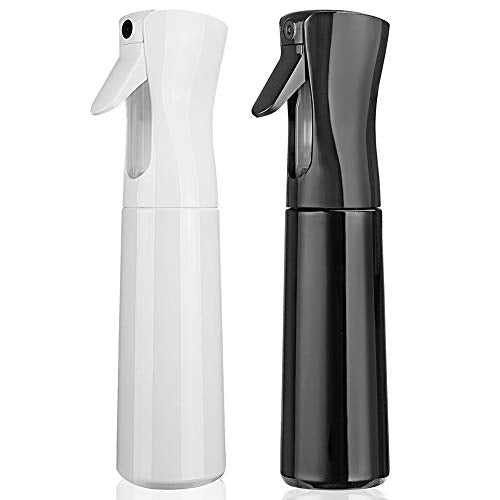 Cosywell Hair Spray Bottle Empty Plastic Trigger Spray Bottle Refillable Fine Mist Sprayer Bottle 2 Pack 10oz /300ml for Hair Styling, Cleaning, Garden Continuous Water Mister (Black&White) 10 Ounce