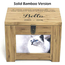 Load image into Gallery viewer, Cades and Birch Personalized Pet Memory Box/Urn with Name and Quote or Poem - Memorial Photo Frame Chest Picture Keepsake Urn - Dog, Cat, Lizard, Bird Medium Walnut Stain Grey Stain