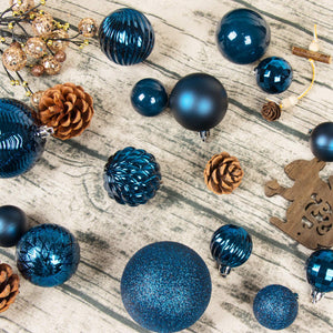 KI Store Christmas Balls Blue Shatterproof Christmas Tree Ball Ornaments Decorations for Xmas Trees Wedding Party Home Decor 2.36-Inch Hooks Included