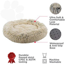 Load image into Gallery viewer, FuzzBall Fluffy Luxe Pet Bed, Anti-Slip, Waterproof Base, Machine Washable, Durable – 3 Colors Available Small Grey-Beige