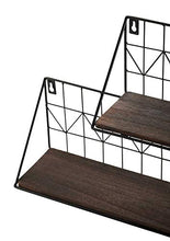 Load image into Gallery viewer, Mkono Wall Mounted Floating Shelves Set of 2 Rustic Metal Wire Storage Shelves Display Racks Home Decor Small & Large Brown