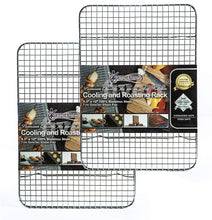 "Load image into Gallery viewer, Stainless Steel Cooling, Baking & Roasting Small Wire Racks fit Quarter Sheet Size Pans, Oven Safe, Heat Resistant, Dishwasher Safe, Rust Proof, Commercial Quality (8.5"" x 12"" - SET OF 2)"