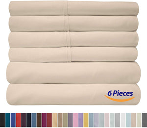 Cal King Size Bed Sheets - 6 Piece 1500 Thread Count Fine Brushed Microfiber Deep Pocket California King Sheet Set Bedding - 2 Extra Pillow Cases, Great Value, California King, Beige