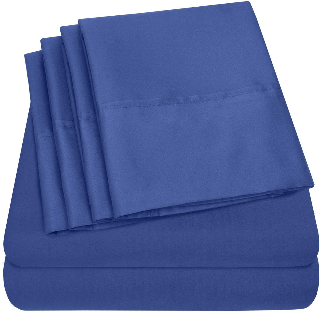 Full Size Bed Sheets - 6 Piece 1500 Thread Count Fine Brushed Microfiber Deep Pocket Full Sheet Set Bedding - 2 Extra Pillow Cases, Great Value, Full, Royal Blue