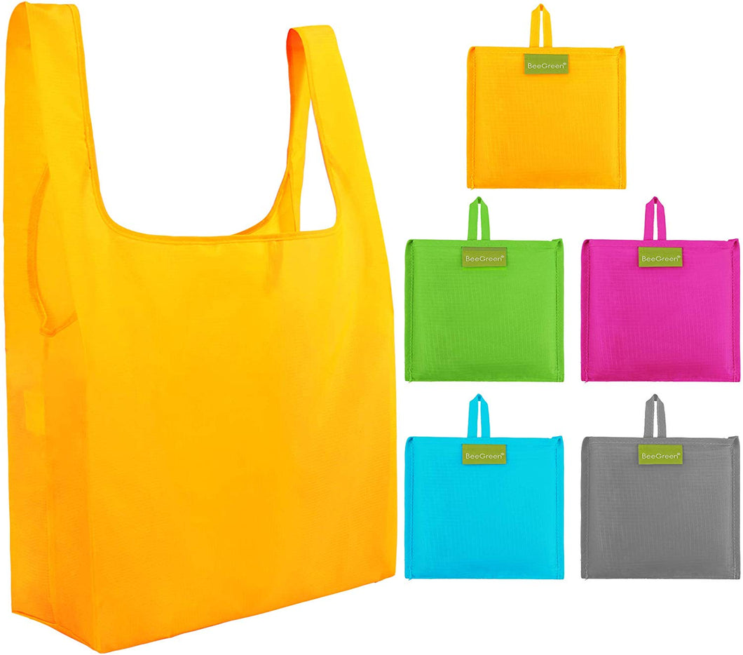 Grocery-Reusable-Bags-Ripstop-Shopping-Bags with Pouch Set of 5 Large Recycle Gift Bags in Bulk Waterproof and Machine Washable