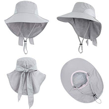 Load image into Gallery viewer, Toppers Womens Sun Hat Packable Neck Cover UPF 50- Wide Brim, Light Grey, Size One Size Ponytail_light Grey