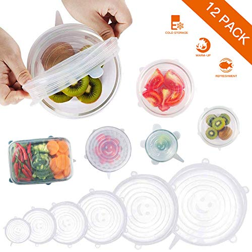 Jjyee Silicone Stretch Lids, 12 Pack Reusable Durable and Expandable Lids to Keep Food Fresh, Fit Various Sizes and Shapes of Containers Food Covers or Bowl Covers, 6 Sizes, White 8541902019