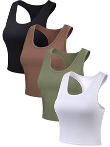 Boao 4 Pieces Basic Crop Tank Tops Sleeveless Racerback Crop Sport Cotton Top for Women (Black, White, Army Green, Coffee, Small)