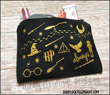 Load image into Gallery viewer, Lucky Elephant Harry Potter Makeup Bag - Harry Potter Pencil Bag - Harry Potter Cosmetics Bag Black