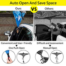 Load image into Gallery viewer, HOSA Auto Open Reverse Inverted Umbrella | Night Safety Reflective Strips, Double Layer Windproof Design, C Handle For Multitasking Great For Outdoors Family and Children (Starry Sky) W.WTI-RUM-STSK_G1_R5647