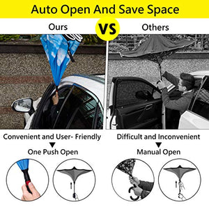 HOSA Auto Open Reverse Inverted Umbrella | Night Safety Reflective Strips, Double Layer Windproof Design, C Handle For Multitasking Great For Outdoors Family and Children (Starry Sky) W.WTI-RUM-STSK_G1_R5647