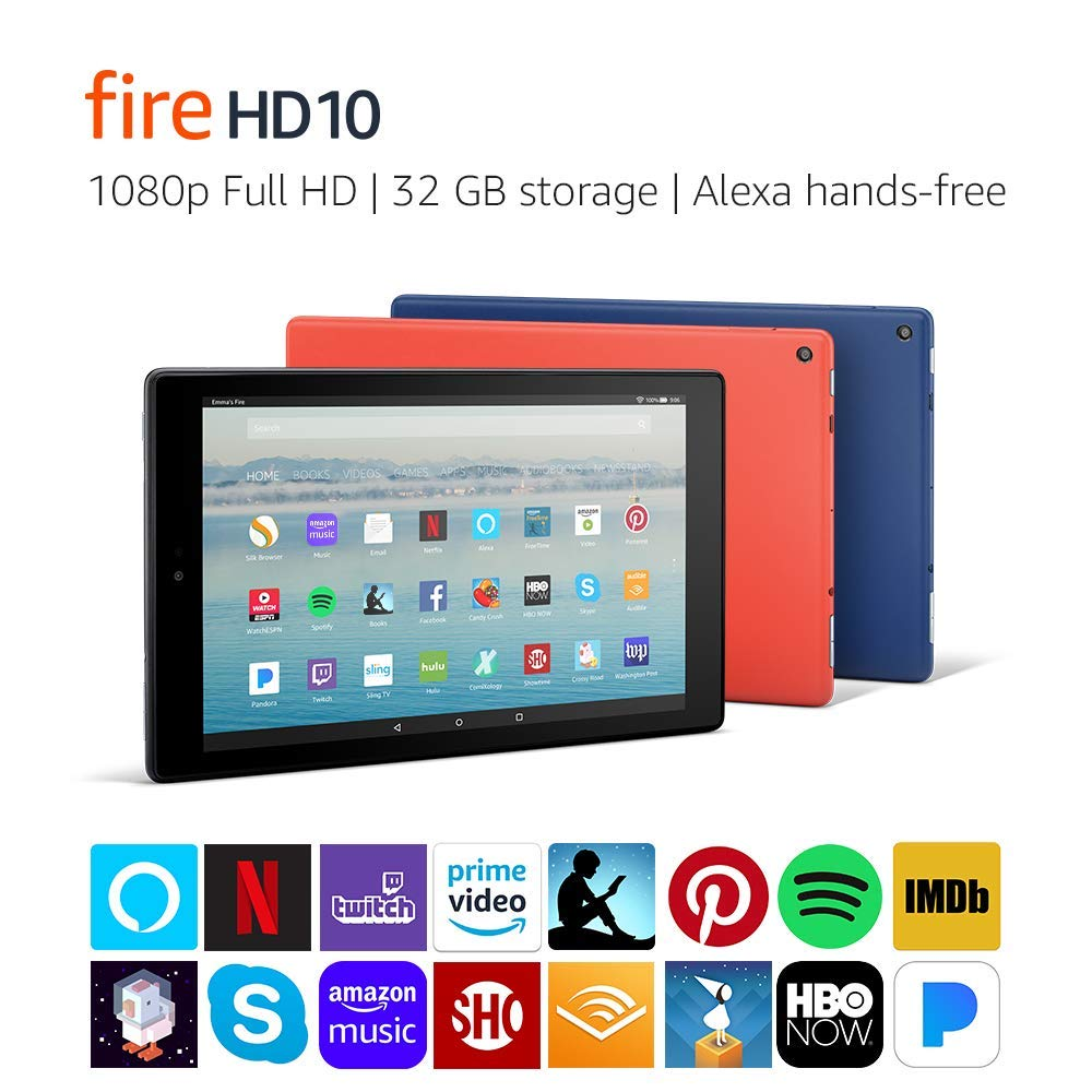 Certified Refurbished Fire HD 10 Tablet (32GB, Black, with Special Offers) + Show Mode Charging Dock (Previous Generation - 7th)