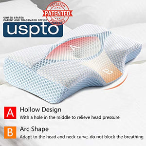 Mkicesky Side Sleeper Contour Memory Foam Pillow, Orthopedic Sleeping Pillow, Ergonomic Cervical Pillow for Neck Pain with Washable Hypoallergenic Pillowcase for Back, Stomach Sleepers (Queen Size) Blue & White