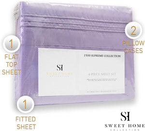1500 Supreme Collection Bed Sheets Set - Luxury Hotel Style 4 Piece Extra Soft Sheet Set - Deep Pocket Wrinkle Free Hypoallergenic Bedding - Over 40+ Colors - Cal King, Lavender