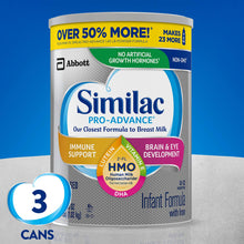 Load image into Gallery viewer, Similac Pro-Advance Non-GMO Infant Formula with Iron, with 2'-FL HMO, for Immune Support, Baby Formula, Powder, 36 Oz, Pack of 3 (One-Month Supply)