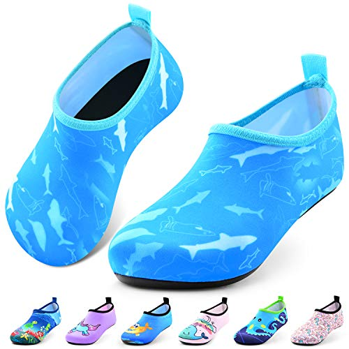 Sunnywoo Water Shoes for Kids Girls Boys,Toddler Kids Swim Water Shoes Quick Dry Non-Slip Water Skin Barefoot Sports Shoes Aqua Socks for Beach Outdoor Sports 1.5-2.5 Infant Blue Dolphin