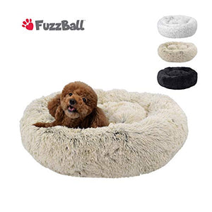 FuzzBall Fluffy Luxe Pet Bed, Anti-Slip, Waterproof Base, Machine Washable, Durable – 3 Colors Available Small Grey-Beige