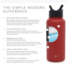 Load image into Gallery viewer, Simple Modern 22 oz Summit Water Bottle with Straw Lid - Gifts for Kids Hydro Vacuum Insulated Tumbler Flask Double Wall Liter - 18/8 Stainless Steel -Cherry