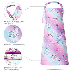 Sylfairy 2 Pack Aprons for Kids Girls Rainbow Unicorn Apron with Pockets for Children Kichen Chef Aprons for Cooking Baking Painting and Party (Small,3-5Years) Rainbow+galaxy