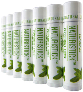 Peppermint Lip Balm Gift Set (7 Pack) by Naturistick. Best All-Natural Beeswax Chapstick for Healing Dry, Chapped Lips. Made with Aloe Vera, Vitamin E, Coconut Oil for Men, Women and Kids. Made in USA