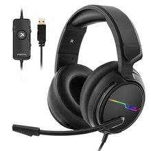 Load image into Gallery viewer, Jeecoo USB Pro Gaming Headset for PC- 7.1 Surround Sound Headphones with Noise Cancelling Mic- Memory Foam Ear Pads RGB Lights for Laptops