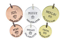 Load image into Gallery viewer, DistinctlyIvy Personalized Pet Tag - DII ABC L20 - Dog Cat ID - Handstamped Handmade - 1 1/8 7/8 Inch Disc – New Puppy Kitten Identification Lost - Change Name Number Adjustable silver, gold, copper