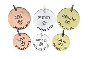 DistinctlyIvy Personalized Pet Tag - DII ABC L20 - Dog Cat ID - Handstamped Handmade - 1 1/8 7/8 Inch Disc – New Puppy Kitten Identification Lost - Change Name Number Adjustable silver, gold, copper