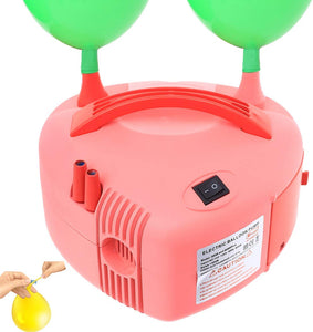 Party Zealot Electric Balloon Air Pump Inflator Dual Nozzle Blower with 100 Balloon Ties Portable Fast Easy Balloon Filler Pink
