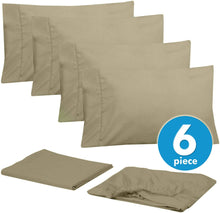 Load image into Gallery viewer, Cal King Size Bed Sheets - 6 Piece 1500 Thread Count Fine Brushed Microfiber Deep Pocket California King Sheet Set Bedding - 2 Extra Pillow Cases, Great Value, California King, Sage
