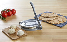 "Load image into Gallery viewer, IMUSA USA MEXI-86008 8"" Easy to Use Aluminum Tortilla Press, Silver 8 Inch"