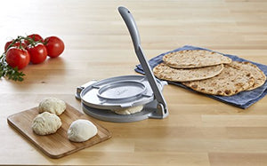 "IMUSA USA MEXI-86008 8"" Easy to Use Aluminum Tortilla Press, Silver 8 Inch"