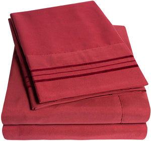 1500 Supreme Collection Extra Soft Twin Sheets Set, Burgundy - Luxury Bed Sheets Set with Deep Pocket Wrinkle Free Hypoallergenic Bedding, Over 40 Colors, Twin Size, Burgundy