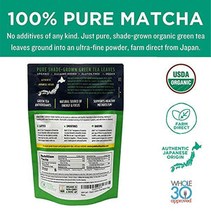Jade Leaf Matcha Green Tea Powder - USDA Organic, Authentic Japanese Origin - Culinary Grade - Premium 2nd Harvest - (Lattes, Smoothies, Baking, Recipes) - Antioxidants, Energy [100g Value Size] 3.5 Ounce