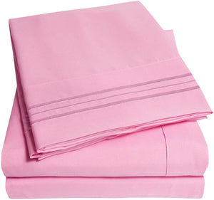 1500 Supreme Collection Extra Soft Twin XL Sheets Set, Pink - Luxury Bed Sheets Set with Deep Pocket Wrinkle Free Hypoallergenic Bedding, Over 40 Colors, Twin XL Size, Pink