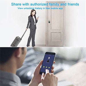 Fingerprint Padlock, Bluetooth Lock, APP, IP65 Waterproof, MEGAFEIS Smart Padlock with Keyless Biometric Suitable for Gym, Sports, Bike, School, Cabinet, Garage and Storage FB50 Grey