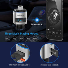 Load image into Gallery viewer, Nulaxy Bluetooth FM Transmitter for Car, 7 Color LED Backlit Bluetooth Car Adapter with QC3.0 Charging, Support Siri Google Assistant, USB Flash Drive, microSD Card, Handsfree Car Kit (A- Silver)