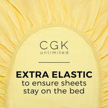 Load image into Gallery viewer, CGK Unlimited Split King Size Sheet Set – 5 Piece - Hotel Luxury Bed - Extra Soft - Deep Pockets - Breathable & Cooling - Wrinkle Free - Comfy – Yellow Sheets - Split Kings Sheets Yellow 5PC