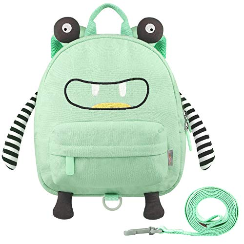 GAGAKU Mini Toddler Backpack for Girls 2-5 Years, Anti-Lost Preschool Backpack with Leash - Green Small