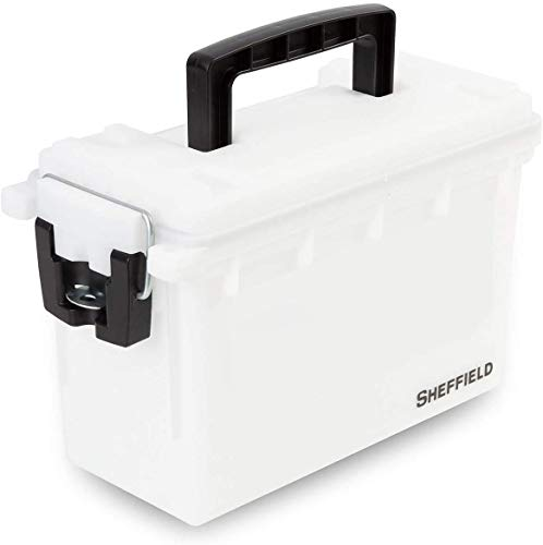 Sheffield 12634 Storage Box | Locking Ammo Case, Crafts Box, or Kids Storage | Water Resistant & Tamper-Proof w/ 3 Locking Options | Interlocking Stackable Design, Great |White (2-Pack) 2-Pack( White )