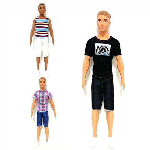 Black Stripes Tee Pant Set for 1/6 BJD Doll Clothes Ken The Boy Friend Accessories Dollhouse Dressing Up Costume Kids Toys Gift