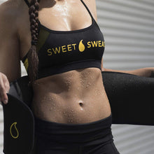 Load image into Gallery viewer, Sports Research Sweet Sweat Premium Waist Trimmer (Yellow Logo) for Men & Women. Includes Free Sample of Sweet Sweat Gel!