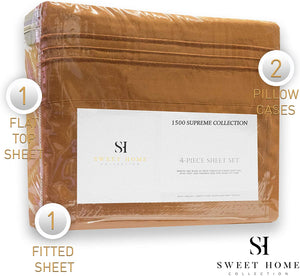 1500 Supreme Collection Extra Soft King Sheets Set, Mocha - Luxury Bed Sheets Set with Deep Pocket Wrinkle Free Hypoallergenic Bedding, Over 40 Colors, King Size, Mocha