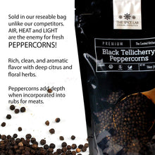 Load image into Gallery viewer, The Spice Lab Peppercorns – Tellicherry Whole Black Peppercorns for Grinder Refill - 18oz. Tub - Steam Sterilized Kosher Packed in the USA - All Natural Black Pepper - Pepper Grinder / Pepper Mill